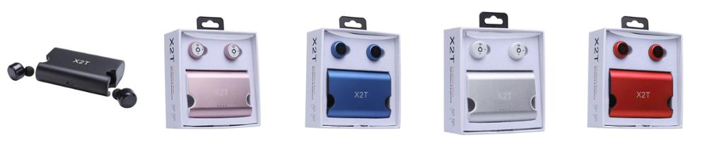 Wholesale X2T mini wireless earbuds, bluetooth headset for iPhone 7 bluetooth headphones with charging case