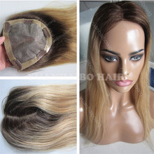2017 New Selling 9A Honey Blonde Two Tone Remy Hair Silk Straight Clips In Thin Skin Around Hair Topper