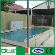 2016 new design swimming pool temper frameless balcony aluminum and glass fence