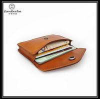 Fashion handmade vegetable tanned leather women/men's travel short wallet