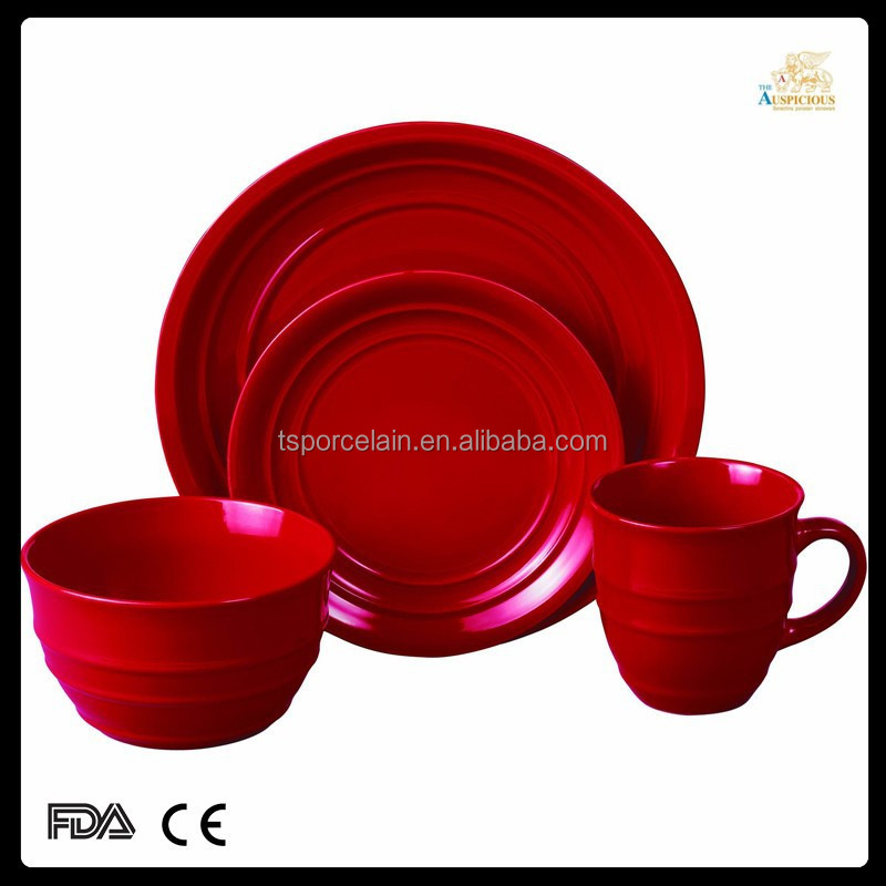 various colors 16pcs glazed-embossed red stoneware dinnerware
