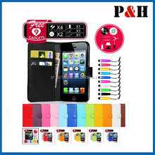Wallet Flip Leather belt clip Case For iPhone 5,phone holster