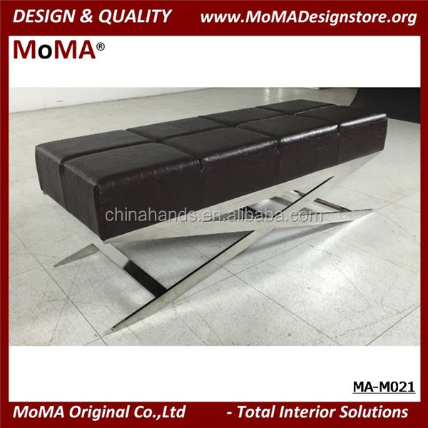 MA-M021 Black Leather Ottoman Bench With Stainless Steel Base Bed End Bench