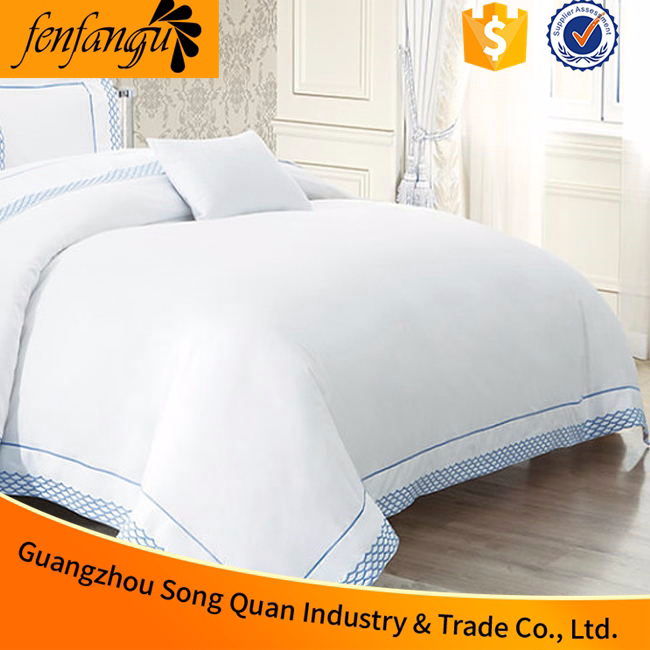 2015 latest design egyptian cotton 300TC king size hand embroidery bed cover used in hotel,hotel bed cover supplier in guangzhou