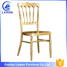 Wholesale stacking tiffany chair gold steel metal wedding chiavari chair for hotel
