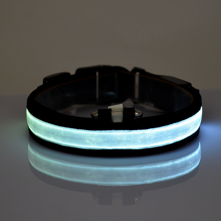 (New Products) 2017 Hot Light up LED Pet Collar, Nylon Pet Collar, Cute Pet Collar Shenzhen Factory Supplies