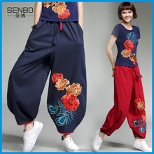 Chinese National Style Pants Slack Embroidered Pants