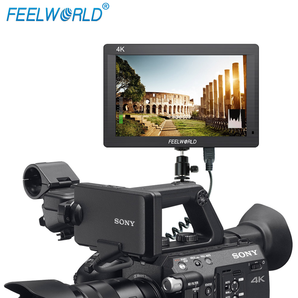 Feelworld 7 inch 1920x1200 resolution 2160p 4K HDMI input output electronic steadicam with histogram
