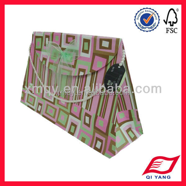 Eco-Friendly advertising luxury paper gift bag with bow tie organza ribbon handle