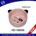 Hot sale ceramic pink cat bowl,pet feed trough customized