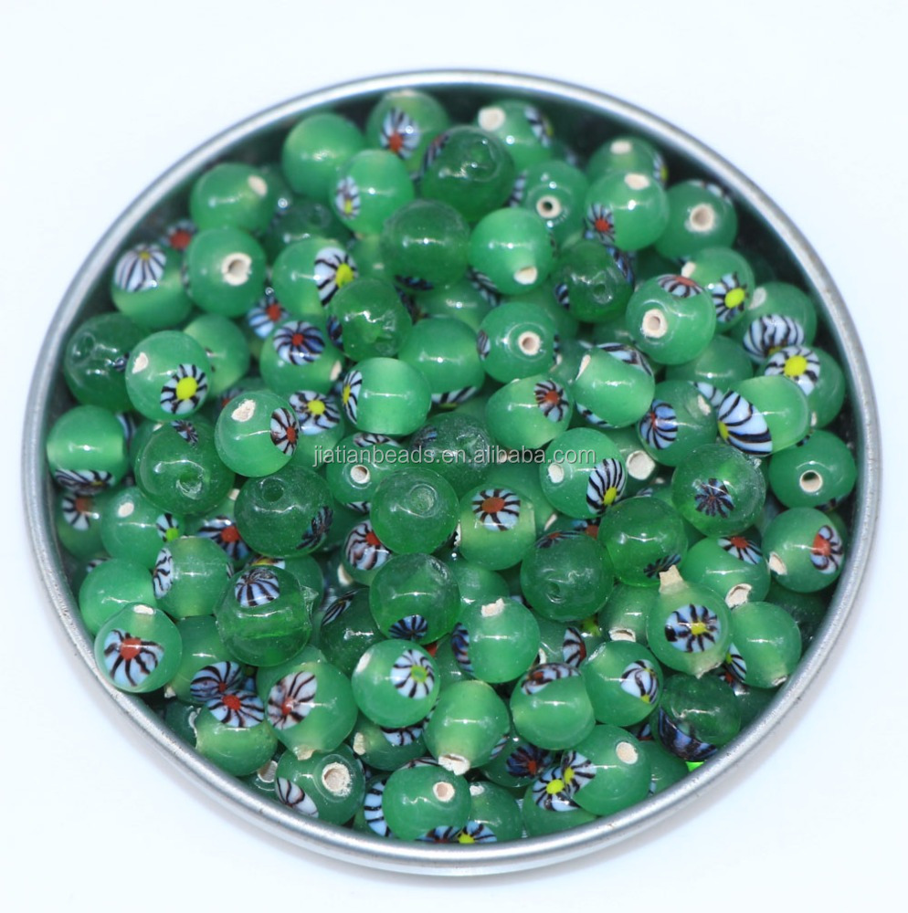 8mm jade green round glass beads with millefiroi flower