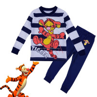 Children Cartoon Character Cotton Printed Pajamas, Tiger Sleepwear, 2-7 Year Old Kid Household Top and Pants Set