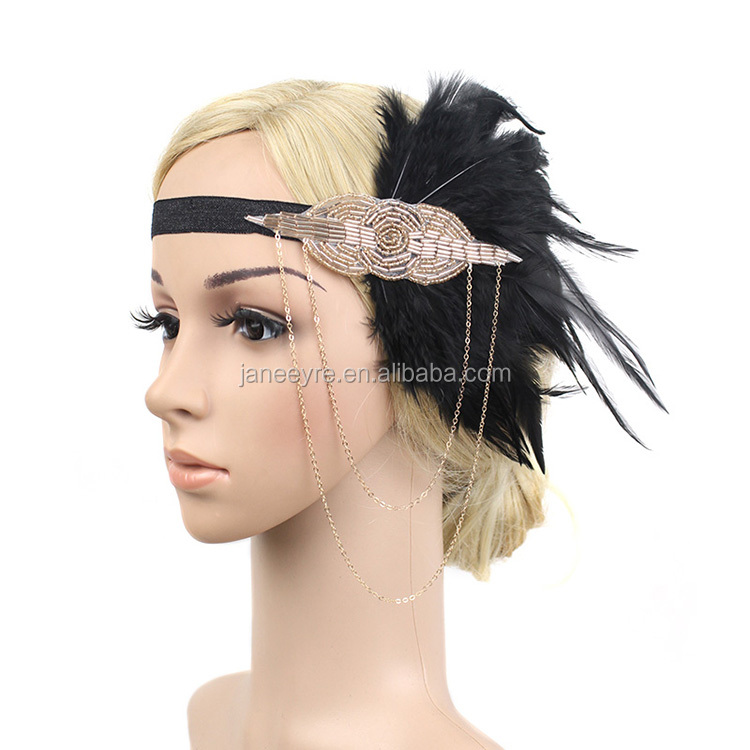 Gold Black Feather Headpiece 1920s Headband Flapper Great Gatsby Vtg 44