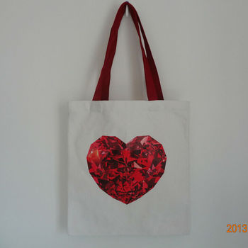 Printed Red Heart Small Cotton Bags