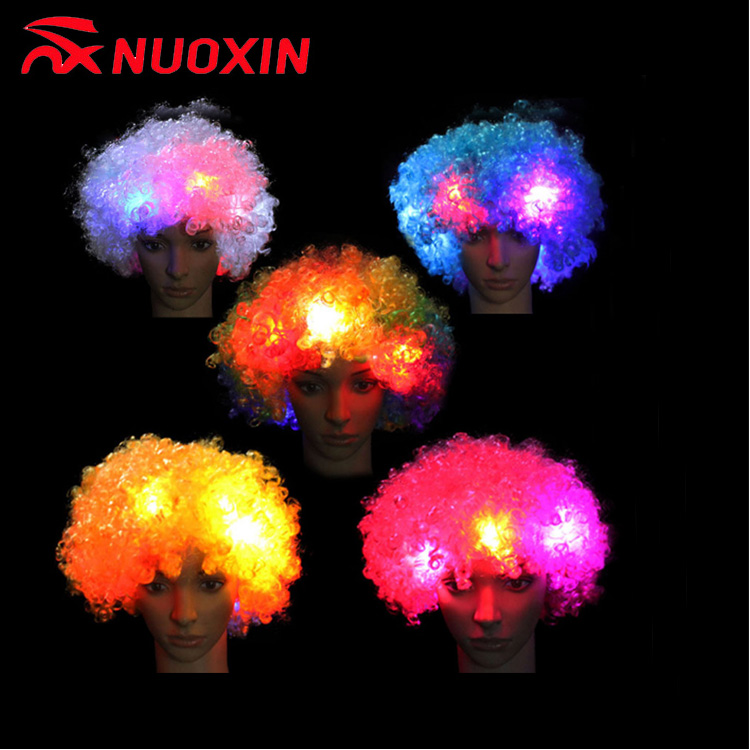 Wholesale Hot Selling Football Fans Cheering Light Short Curly Hair Led Wig