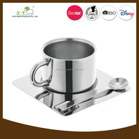 Diaphanous mini stainless steel coffee mug with spoon in handle