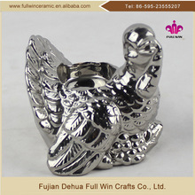 wholesale thanksgiving design electroplated silver color ceramic turkey shaped bulk tealight candle holders