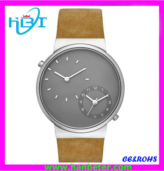 Vogue design tan color leather watches with cool grey dial design and multifuction movement