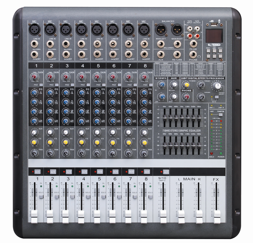 Power mixer with amplifier professional sound systems equipment PMR806D