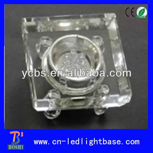 Fashion 7 lights Clear crystal Square led light base for gifts