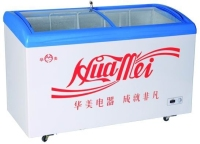 Curved Glass Door Chest Freezer for Ice Cream Storage
