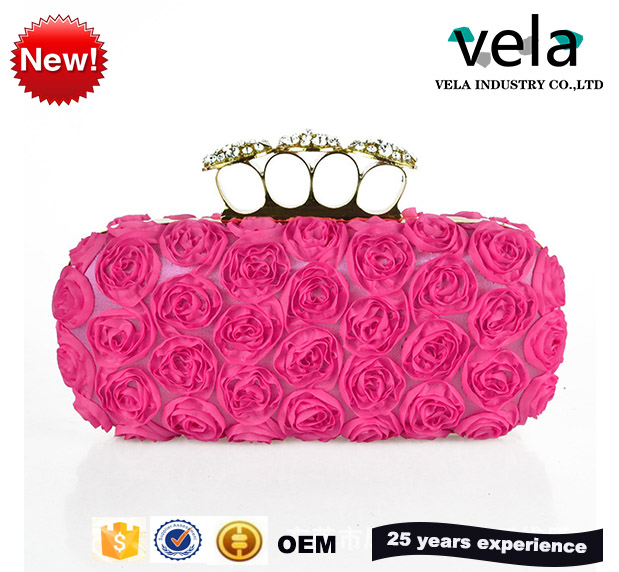 2017 American Popular Casual Style Rose Flower Evening Bag Metal Top Handle Red Clutch Bags Unique Design Silk Handbag Purse Oem