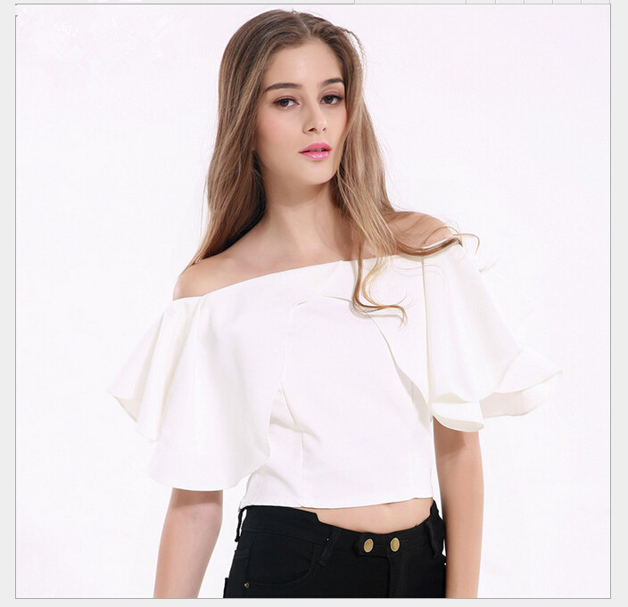 White Ruffled Short Sleeve Blouse Graceful Women Casual Short Tops Ladies Boat Neck Design Short Tops LJL-TSYA02