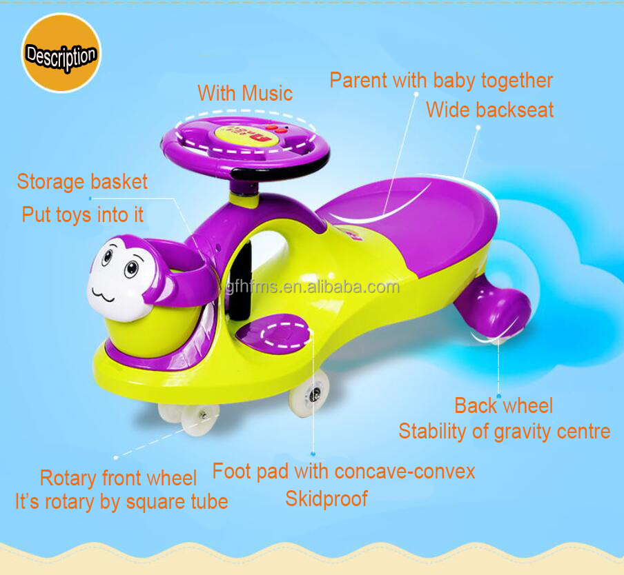 Top Quality Good Price With Music New Type Baby Plasitc Toys Ride On Swing Car