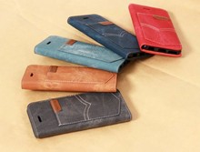 Denim Jean Leather Case for iphone 7 Wallet Pocket with Card Slot Stand Case for iPhone 7 Plus