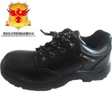 Black leather short cut safety footwear for Chile