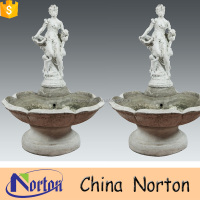Carved nude woman statue natural stone garden water fountain NTMF-S544A