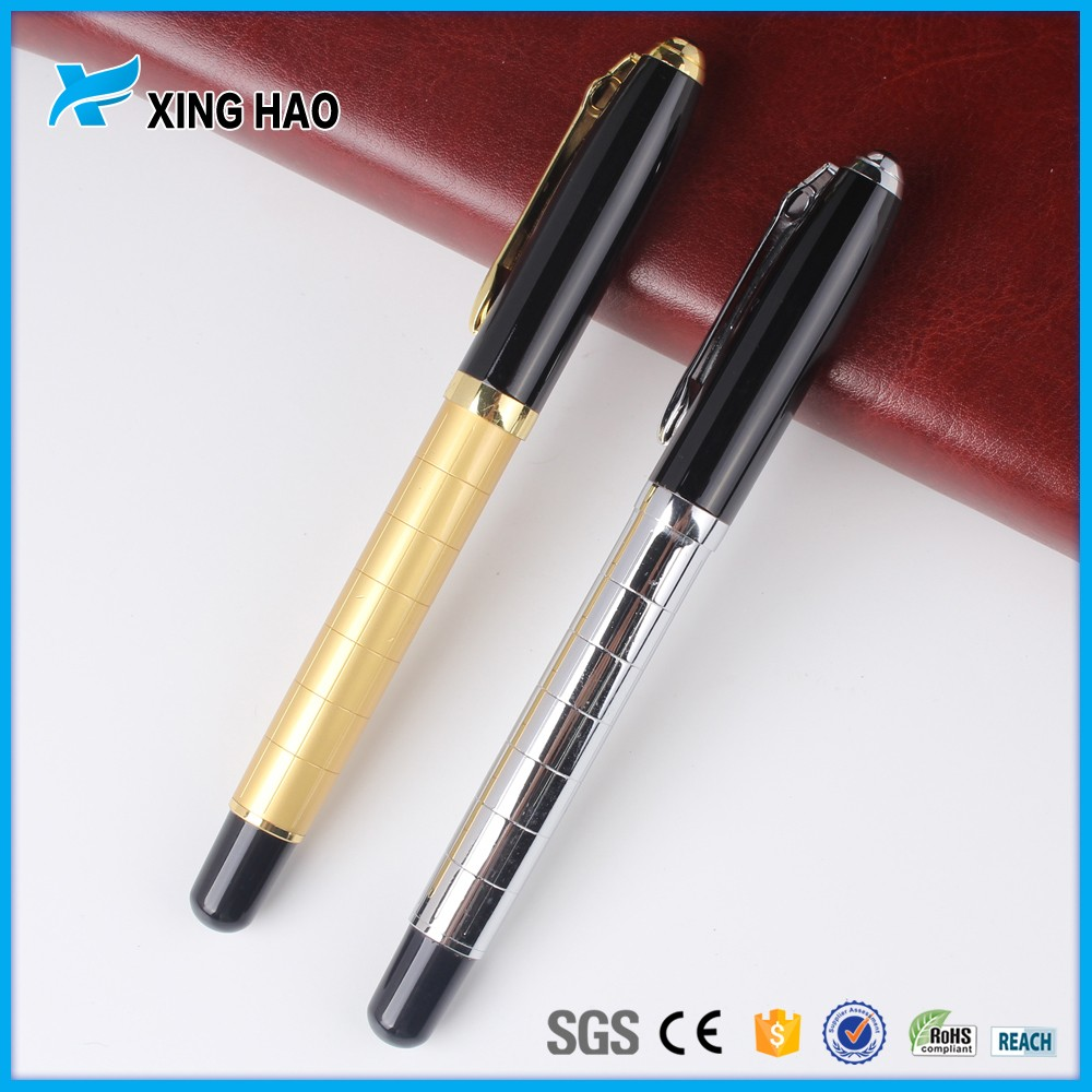 Best stationery ball pen with custom logo free ink roller pen gold & silver metal pen
