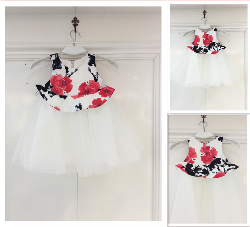 Guangzhou Factory Flower Tulle Wedding Dress for child Cute Casual Girl Dress Wedding Party Dress