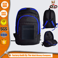 outdoor solar laptop backpack with led light solar panel power bag