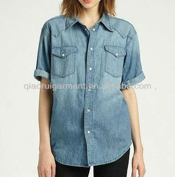 Hot selling stylish short sleeve blue washed denim/cowboy casual shirts for women/ladies with pointed collar and two pockets