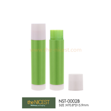 hollow round plastic lip balm tube with pulling cap