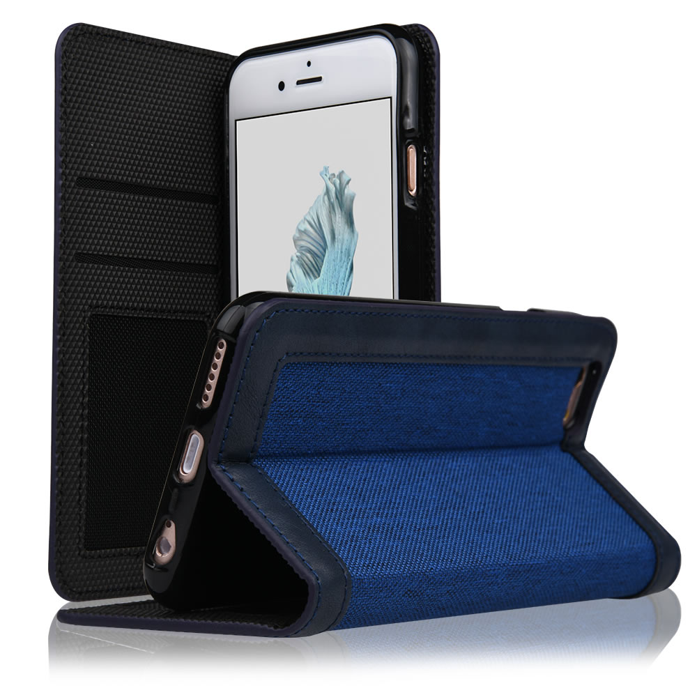 C&T Cowboy Fabrics Cloth Jeans Denim material PU-Leather Flip Mobile Cell Phone Case Cover for IPhone6 IPhone6S