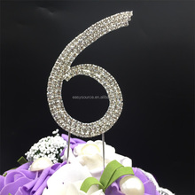 Birthday Cake Topper Wedding Table Numbers Rhinestone Crystal Anniversary Cake Decoration