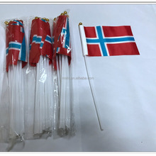 Cheap stock 10*15cm 4*6inches Norway Norwegian hand stick flag with pole