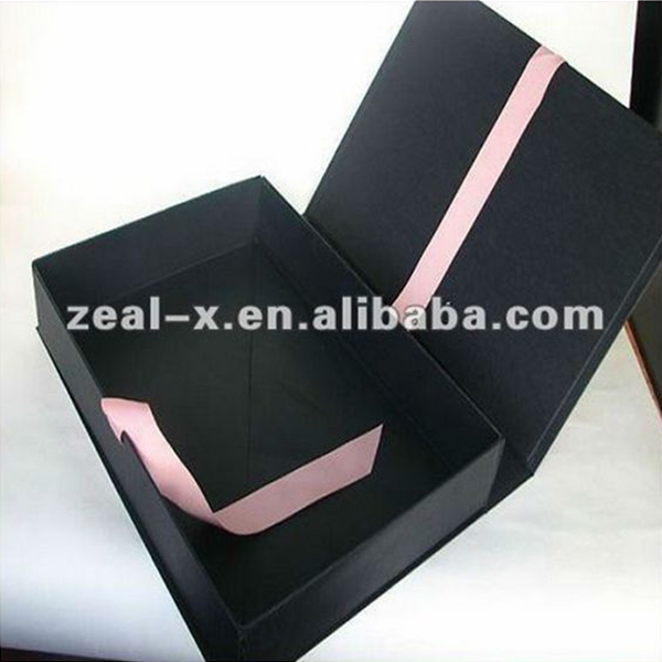 Black Strong Corrugated or Cardboard Carton Box with Hinged Lid Folding Paper Box