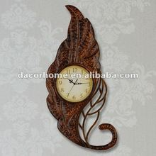 2012 New Design-Rustic Style Metal Leaf Wall Clock