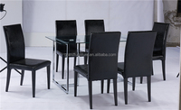 Fancy cheap glass metal glass dining table and chairs for kitchen furniture
