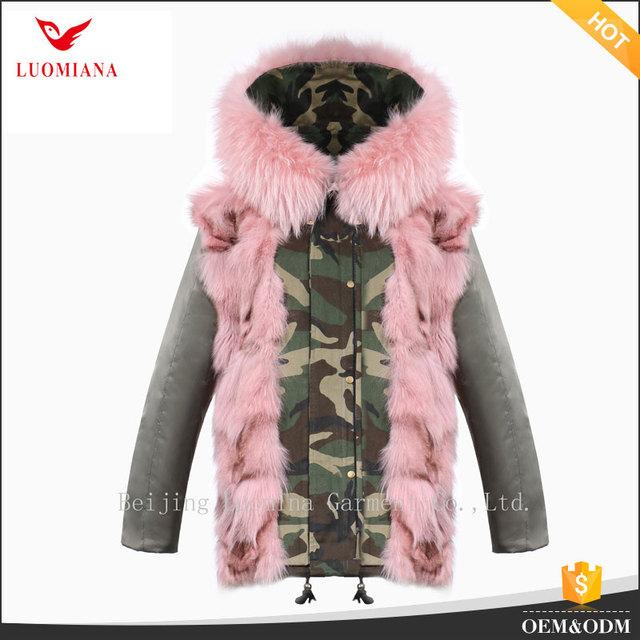 Fashion outdoor winter fur hood coat camouflage fur parka jacket woman custom parka