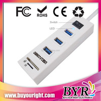 one switch and LED flash USB combo HUB driver 3 usb 3.0 port/2 card reader slot
