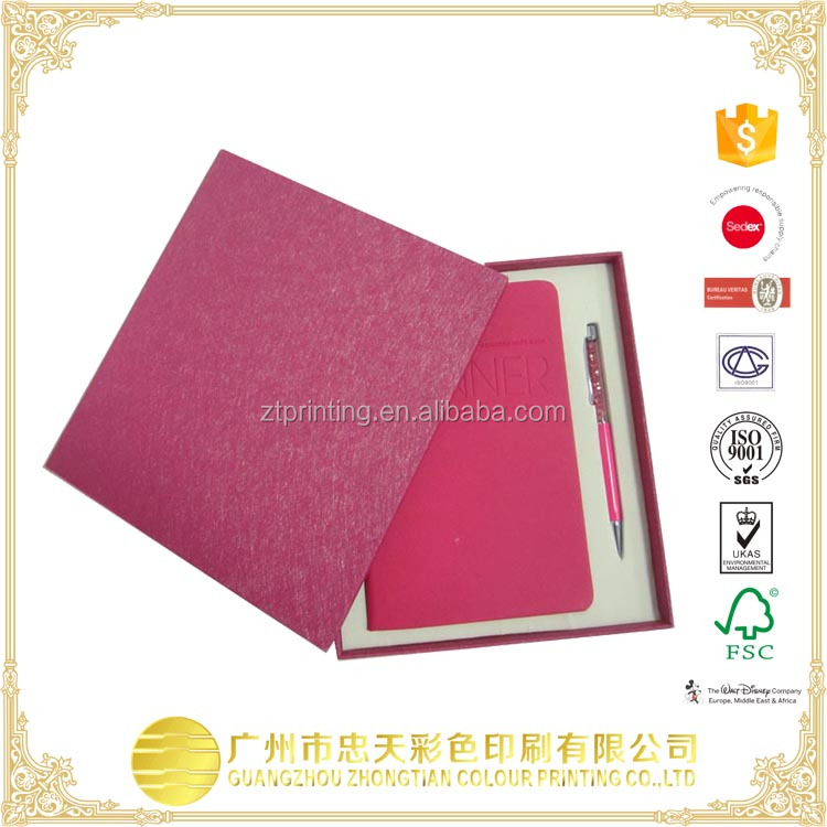 High Quality with ball pen and box note book printing