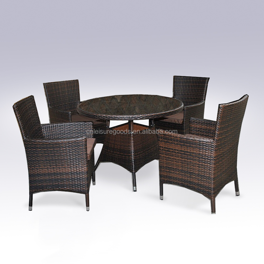 Patio synthetic rattan dining table and chair