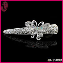 Wholesale Indian Wedding Hair Barrette Crystal Bridal Hair Accessory With Butterfly