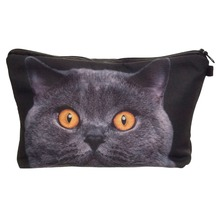 promotional cheap cosmetic bag black cat kitty print makeup bag