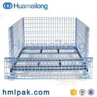 Forklift guide design industrial wire mesh collapsible baskets