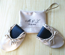 After Party Roll-up Folding PU leather Ballet Pump Shoes with A Matching Bag